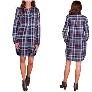 Velvet By G & S Gabrielle Plaid Shirt Dress Sz. XS